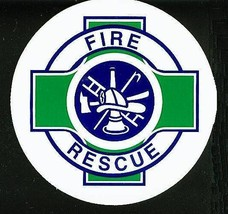 """FIRE - RESCUE Fire Department DECAL - 2 1/2"""" WHITE VINYL with Green Rescue Cross image 2"""