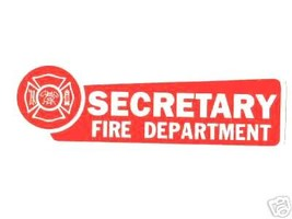 SECRETARY FIRE DEPARTMENT  Highly Reflective Red Vinyl Decal image 2