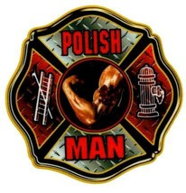 POLISH MAN Highly Reflective Maltese Cross Full Color Polish Firefighter  DECAL image 2