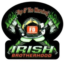 "IRISH BROTHERHOOD Reflective Full Color Irish Firefighter DECAL - 2"" x 2"" image 2"
