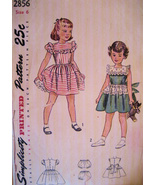 Simplicity 2856 Vintage 40s Girls 6 Flower Girl Party Dress - $16.95