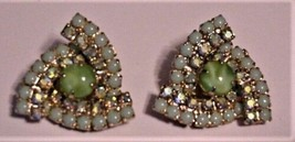 Stunning Vintage Green Beads Rhinestones Clip on Earrings - EXCELLENT - $39.59