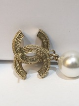 [SALE] AUTH CHANEL GOLD 2 TONE BLACK LARGE CRYSTAL CC PEARL DROP EARRINGS  image 11