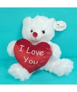 Teddy Bear White Valentines Plush Stuffed Animal I Love You Red Pillow H... - $17.81