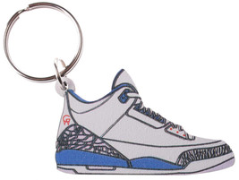 Good Wood NYC True Blue III 3's Sneaker Keychain White/ Key Ring key Fob