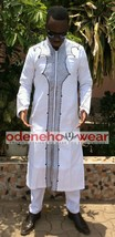 Odeneho Wear Men's Polished Cotton/Black Embroidery.African Clothing.Top & Botto - $143.55+