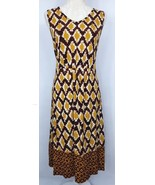 Isaac Mizrahi Womens Size Small Yellow Brown Print Tie Waist Midi Dress - $15.84