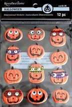 Recollections Halloween Dimensional Funny Face Jack O Lantern Stickers 12 pc