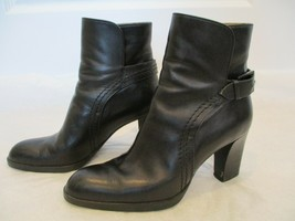 TODS Black Leather Booties with 3 Inch Chunky Heel & Belt Closure - Size 6 - $99.99