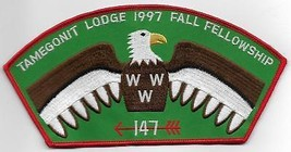 1997 Lodge 147 Tamegonit Fall Fellowship OA patch - $5.94