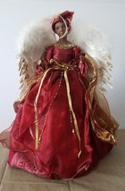 "African American Black Lady Angel 16"" Red Gold Christmas Tree Topper Tab... - $34.64"