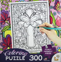 Cross Coloring Puzzle Brand NEW 300 Piece 18 x 24 Inch Jigsaw Family Fri... - $9.26