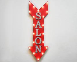 "36"" SALON Rustic Metal Marquee Haircuts Shop Beauty Barber Open Arrow Li... - €121,54 EUR"