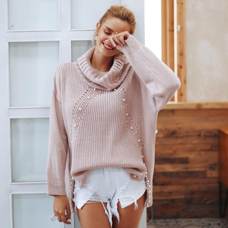 Primary image for Simplee Beading turtleneck plus size sweater Women 2018 Loose split casual knitt