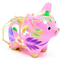 Handcrafted Painted CeramicPink Pig Confetti Ornament Made in Peru