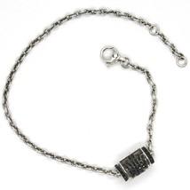Silver Bracelet 925, Tube Angel, Zircon Black, Roberto Giannotti, Man - $169.34
