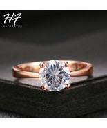 Rose Gold Color Four Claw Solitaire CZ Crystal 0.8CM Forever Wedding Rin... - $8.08