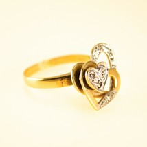 14k gold Vintage Ring Hearts Spinner ring Uk size M BHS - $473.10
