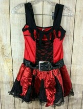 Amscan Girls Costume Dress Size L 12-14 Gothic Chains Lace Red Black Witch Belt  - $31.67