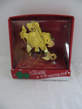 Thin Solid Brass Metal 3-D Bear on Rocking Christmas Ornament - $6.79