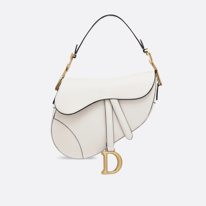 BRAND NEW Authentic Christian Dior White Saddle Trotter Leather Shoulder Bag