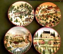 "Set Of 4 Block Country Village 1995 8"" Salad Dessert Plates Euc - $21.85"