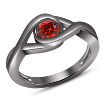 Intertwined Solitaire Engagement Ring Red Garnet Black Gold Plated 925 S... - $75.99