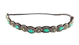 Hand-beaded Crystal Rhinestones Headband Headdress, Green Diamond