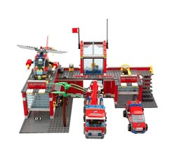 Legoing 774Pcs City Fire Station Truck Helicopter Firefighter Building B... - $33.99