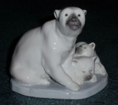 Polar Bear With Cubs Lladro Collectible Figurine #5434 - Cute CHRISTMAS ... - $140.64