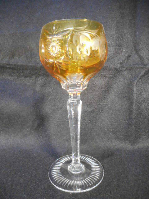 Vintage Yellow Gold Bohemian Czech Glass Cut to Clear Wine Goblet