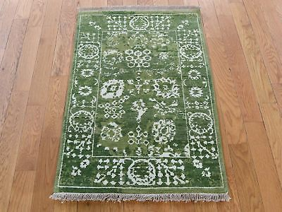 """2'1""""x3'1"""" HandKnotted Wool and Silk Tabrez Tone on Tone Oriental Rug G39933"""