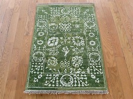 """2'1""""x3'1"""" HandKnotted Wool and Silk Tabrez Tone on Tone Oriental Rug G39933 - $298.98"""