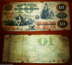 Bank of the City of Petersburg, VA.$10  1861 - Lovely engraved note by A... - $820.81