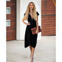 Black  V-Neck Short Women Skirts With Short Sleeve Prom Party Gowns Summ... - $24.33