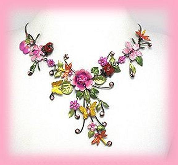 Necklace pink fuscia ladybug floral
