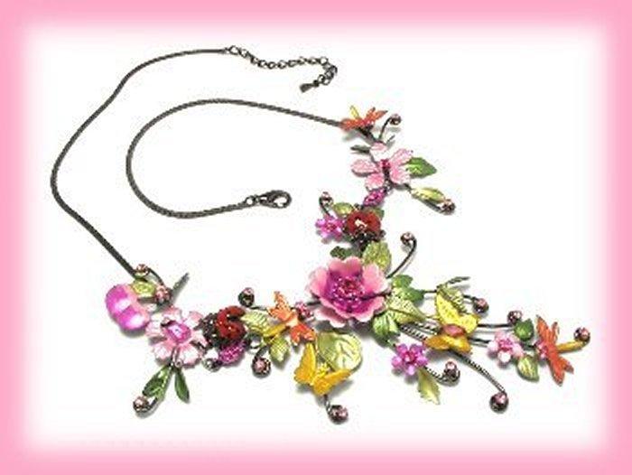 Pink Fuchsia Flowers Butterflies Dragonflies Necklace Earring Set