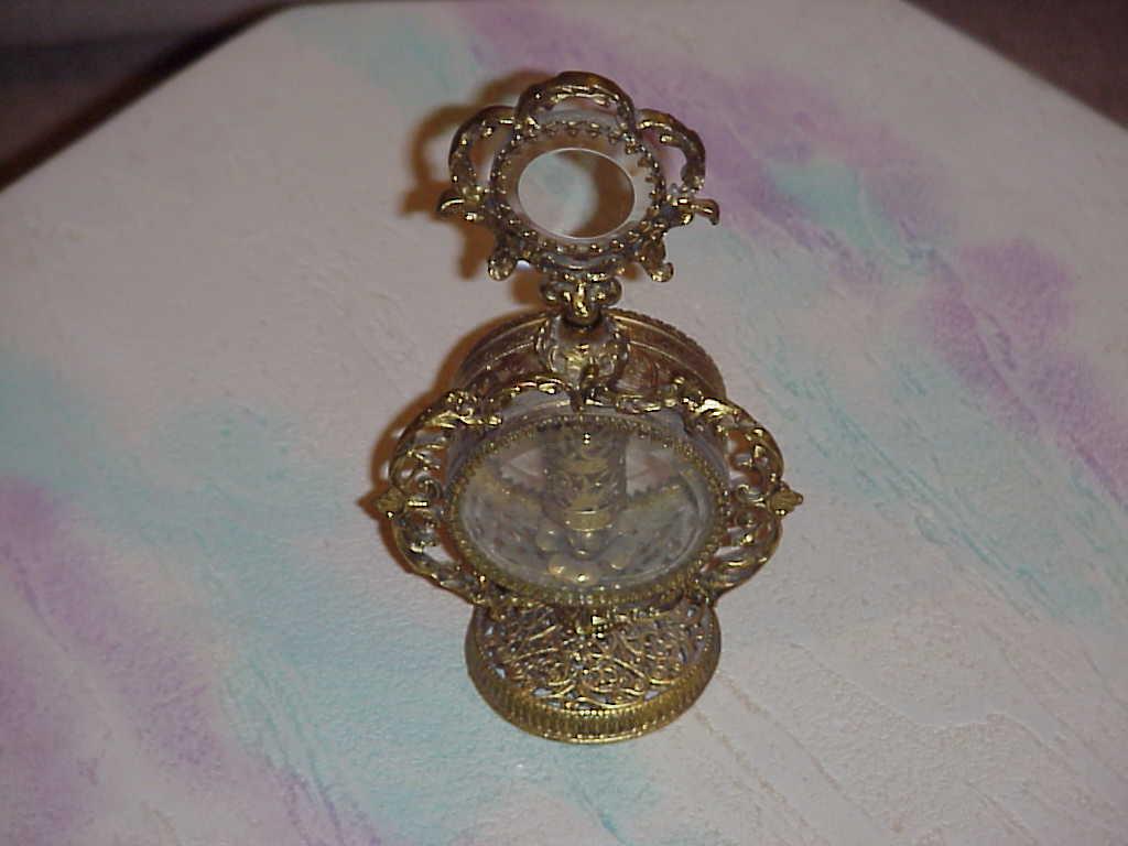 Dresser Sets -Vintage Brass  Hand Mirror , Clock (Electric)