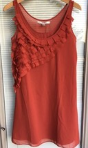 Lauren Conrad LC Womens Shift Dress Size 2 Rust Red Sheer Slvls Pleated ... - $16.82