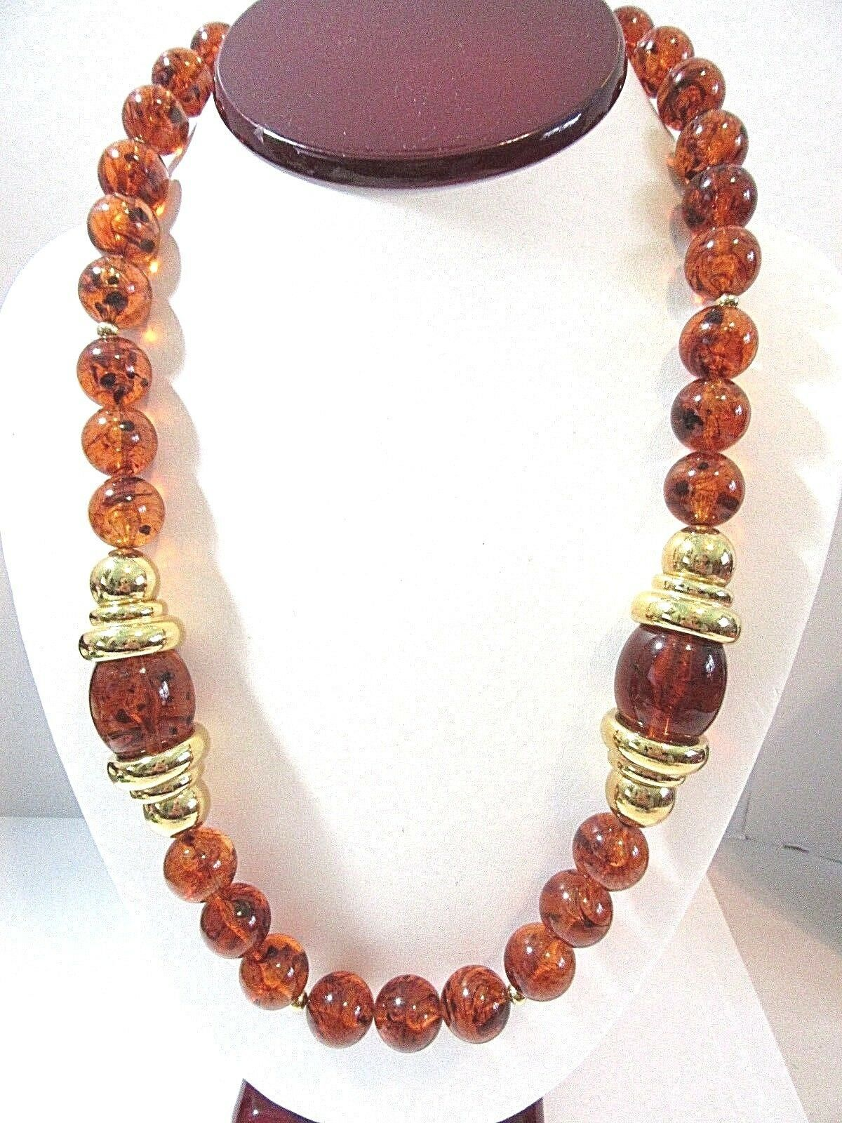 FAUX TORTOISE COLOR LUCITE AND GOLD TONE BEADED NECKLACE DESIGNER SIGNED NAPIER - $18.00