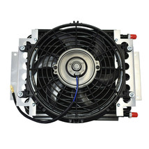 "5"" Oil Cooler with 10"" Electric Fan and 3/8"" Fitting 48"" L Hose Kit image 1"