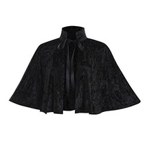 COUCOU Age Velvet Collar Shawl Short Cloak Cape Women Dress (One size|Bl... - $48.53