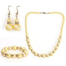 UNITED ELEGANCE Gold Faux Pearl & Crystal Set, Necklace, Earrings & Brac... - $29.99