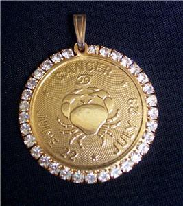 Vtg Faceted Rhinestones Astrology Horoscope CANCER Pendant