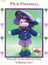 NOS CROCHETED DOLL DUMPLIN DESIGNS CDC406 PLUM PRESERVES - $3.09