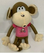 "Kellytoy Bobby Jack Monkey large Plush ""Lets Go Do Fun Stuff"" pink shirt - $9.89"