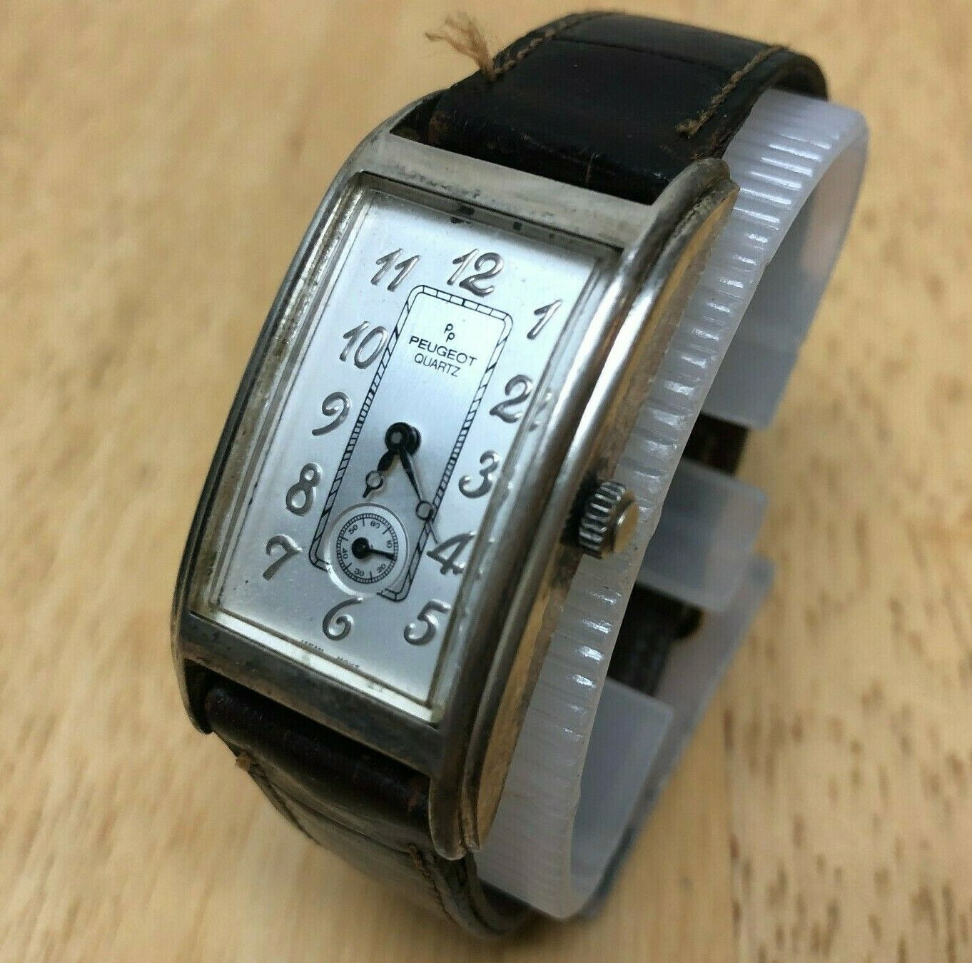 Vintage Peugeot Sterling Tone Ultra Curved Analog Quartz Watch Hours~New Battery