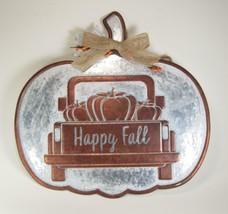 """Happy Fall"" Metal Pumpkin Wall Hanging w/Burlap Bow & Berries 14"" L x 1... - $19.75"