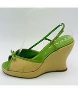 Prada Women's Canvas Wedge Sandals Beige/Green Size 37 - $124.73