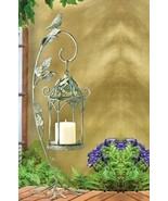 Large Iron Bird Cage Lamp Lantern Vine Leaf Stand Pillar Votive Candle Holder - $17.00